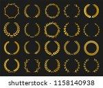 golden vector laurel wreaths on ... | Shutterstock .eps vector #1158140938
