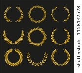 golden vector laurel wreaths on ... | Shutterstock .eps vector #1158142528