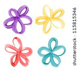 four hand painted flowers   Shutterstock . vector #115815346