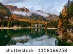 autumn in lake braies park... | Shutterstock . vector #1158166258