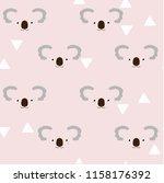 seamless background with koala... | Shutterstock .eps vector #1158176392