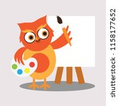 cute painter owl holding color...   Shutterstock .eps vector #1158177652
