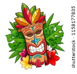 tiki tribal wooden mask.... | Shutterstock .eps vector #1158177835