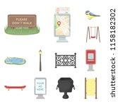 park  equipment cartoon icons... | Shutterstock . vector #1158182302