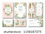 wedding card templates set with ... | Shutterstock .eps vector #1158187375