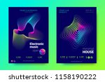 electronic music party posters. ... | Shutterstock .eps vector #1158190222