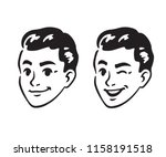 Stock vector vintage s style young man portrait smiling and winking retro comics black and white ink drawing 1158191518