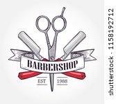 color barbershop logo | Shutterstock .eps vector #1158192712