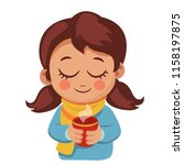 cute little girl in sweater and ... | Shutterstock .eps vector #1158197875