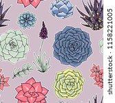 succulents seamless pattern.... | Shutterstock . vector #1158221005