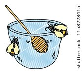 doodle bowl honey with bees... | Shutterstock .eps vector #1158228415