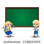 cute little schoolgirl and... | Shutterstock . vector #1158241525