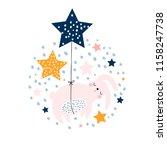 cute bunny sleeping in balloons ... | Shutterstock .eps vector #1158247738