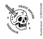 death before dishonor skull... | Shutterstock .eps vector #1158251038