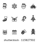 christmas icons in single color
