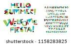 colorful childish font letter...   Shutterstock .eps vector #1158283825