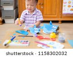 happy cute little asian 2 years ... | Shutterstock . vector #1158302032