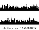 silhouette of tall building.... | Shutterstock .eps vector #1158304855