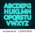 neon blue alphabet on brick... | Shutterstock .eps vector #1158310942