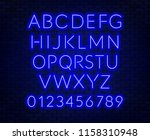 neon blue alphabet on brick... | Shutterstock .eps vector #1158310948