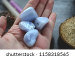 set of 2 blue lace agate... | Shutterstock . vector #1158318565