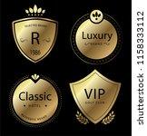 retro labels and badges golden... | Shutterstock .eps vector #1158333112