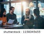 business team of meeting around ... | Shutterstock . vector #1158345655