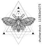 black and white butterfly over... | Shutterstock .eps vector #1158364375