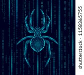 low poly spider hacker attack... | Shutterstock .eps vector #1158365755