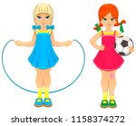 the twin sisters. blonde and... | Shutterstock .eps vector #1158374272