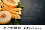 fresh melon sliced to pieces of ... | Shutterstock . vector #1158391132
