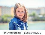 outdoor portrait of cute young... | Shutterstock . vector #1158395272