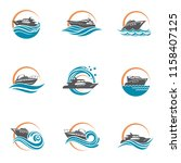 collection of speedboat and... | Shutterstock .eps vector #1158407125