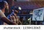 two men using vr technologies... | Shutterstock . vector #1158413065