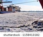 ice sheet of baltic breaking in ... | Shutterstock . vector #1158413182