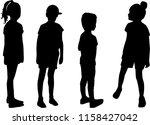 vector silhouette of children... | Shutterstock .eps vector #1158427042