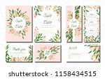 wedding card templates set with ... | Shutterstock .eps vector #1158434515