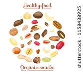 different nuts in circle form.... | Shutterstock .eps vector #1158438925