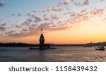 maiden's tower with sunset sky... | Shutterstock . vector #1158439432