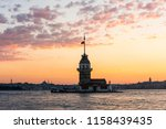 maiden's tower with sunset sky... | Shutterstock . vector #1158439435