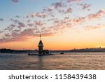 maiden's tower with sunset sky... | Shutterstock . vector #1158439438