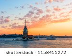 maiden's tower with sunset sky... | Shutterstock . vector #1158455272