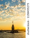 maiden's tower with sunset sky... | Shutterstock . vector #1158455275
