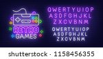 retro games neon sign  bright... | Shutterstock .eps vector #1158456355