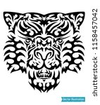tribal tiger tattoo. puma... | Shutterstock .eps vector #1158457042