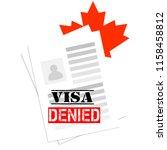 visa canada denied. refusal of... | Shutterstock .eps vector #1158458812