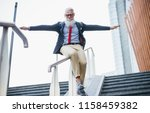 senior hipster with stylish... | Shutterstock . vector #1158459382