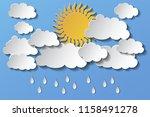 vector cloudy sky and rain  sun ... | Shutterstock .eps vector #1158491278