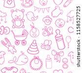 cute seamless pattern pink... | Shutterstock .eps vector #1158527725