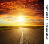 red sunset over road | Shutterstock . vector #115852858